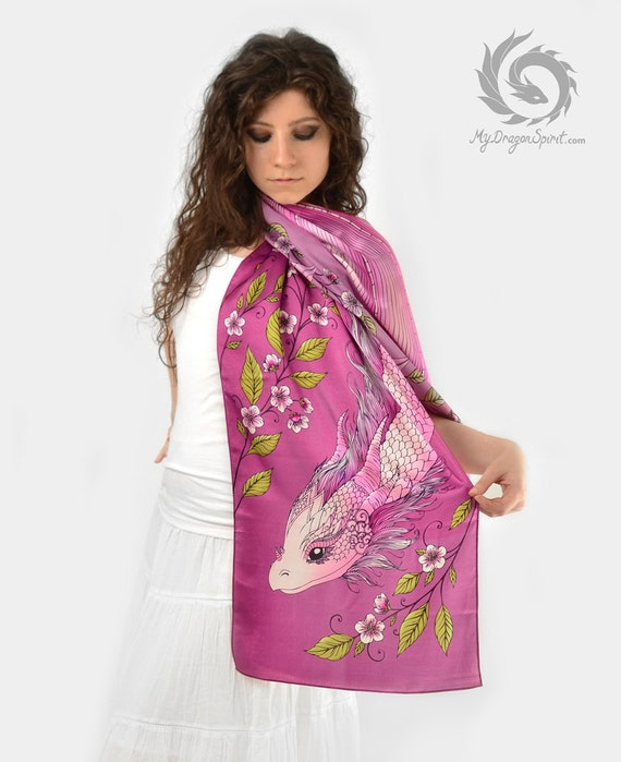Pink silk scarf with a cherry blossom dragon