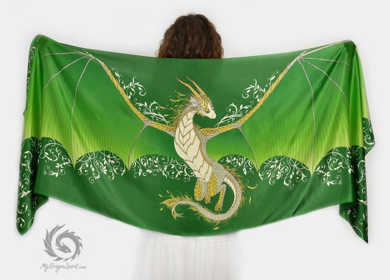 Green silk scarf with a big dragon wings