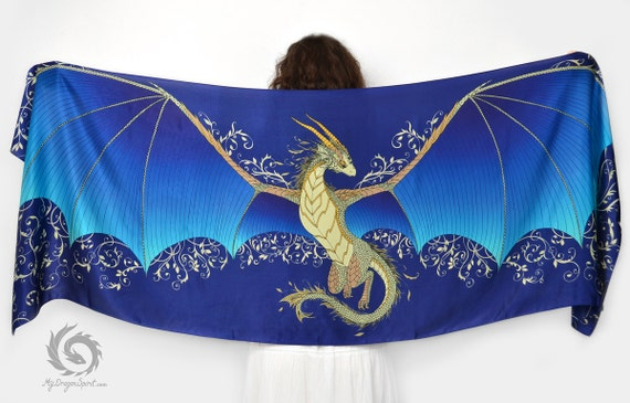 Blue silk scarf with a big dragon wings