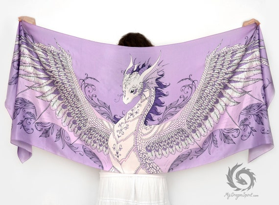 Pink silk scarf with a phoenix dragon wings
