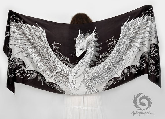 Black silk scarf with a white phoenix dragon wings