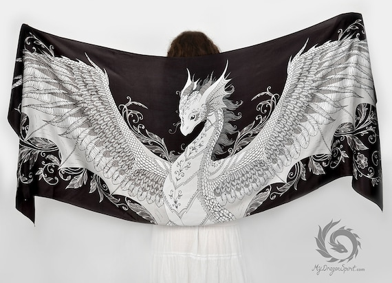 Black silk scarf with a phoenix dragon