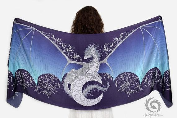 Moon dragon silk scarf