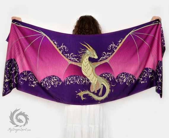 Purple silk scarf with dragon wings