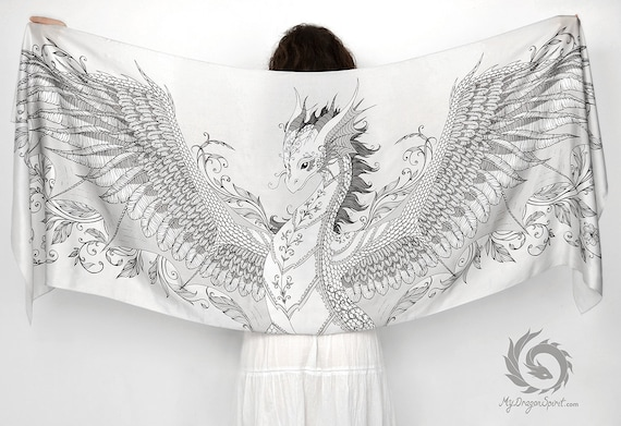 White silk scarf with a phoenix dragon wings
