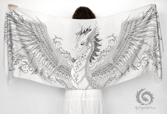 White silk scarf with a silver phoenix dragon wings