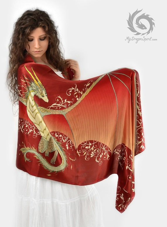 Red silk scarf with open dragon wings