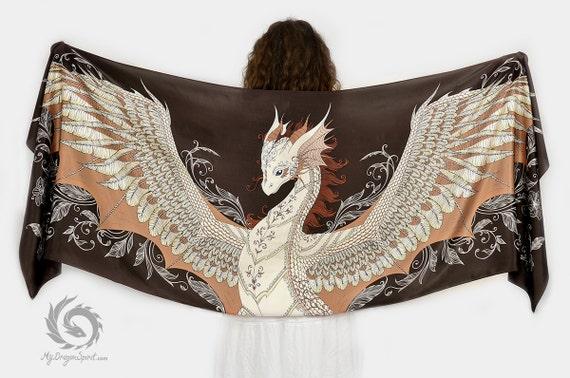 Brown silk scarf with a phoenix dragon