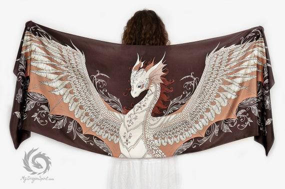 Brown phoenix dragon viscose scarf