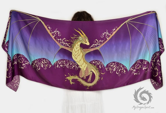 Silk scarf with a fairy dragon