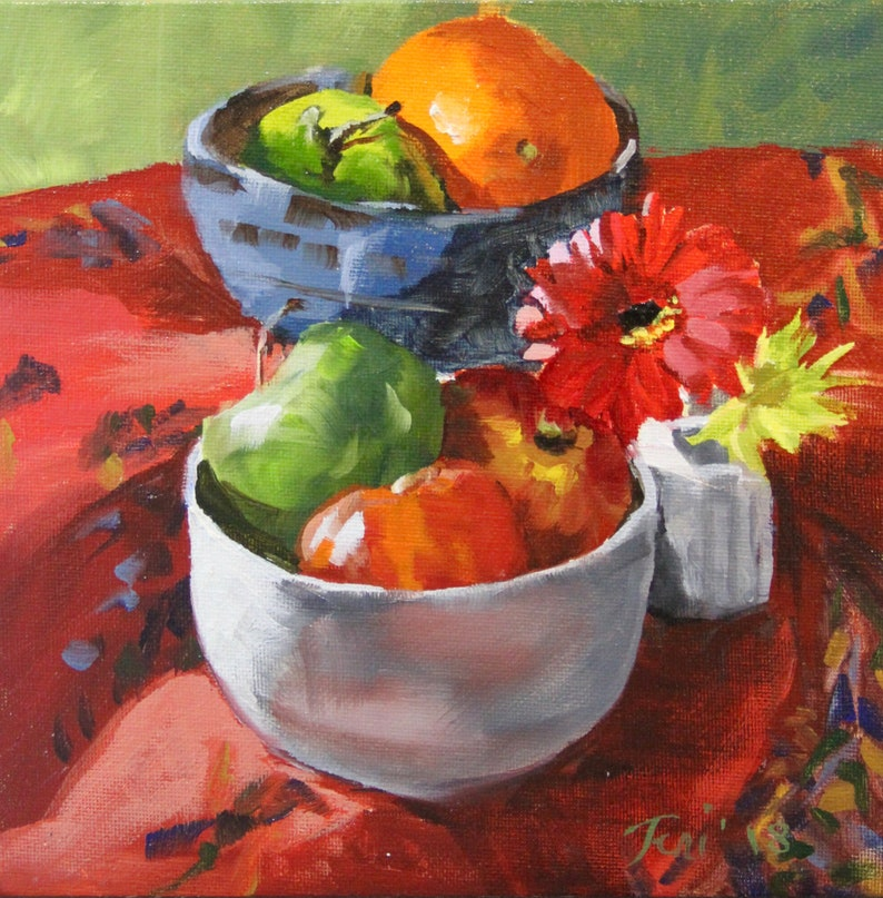 Oil Painting Fruit Bowls And Flowers 8 X 8 Oil Etsy