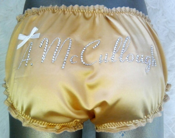 Made to Order  PERSONALISED Diamante Satin SISSY Knickers any size 666361241