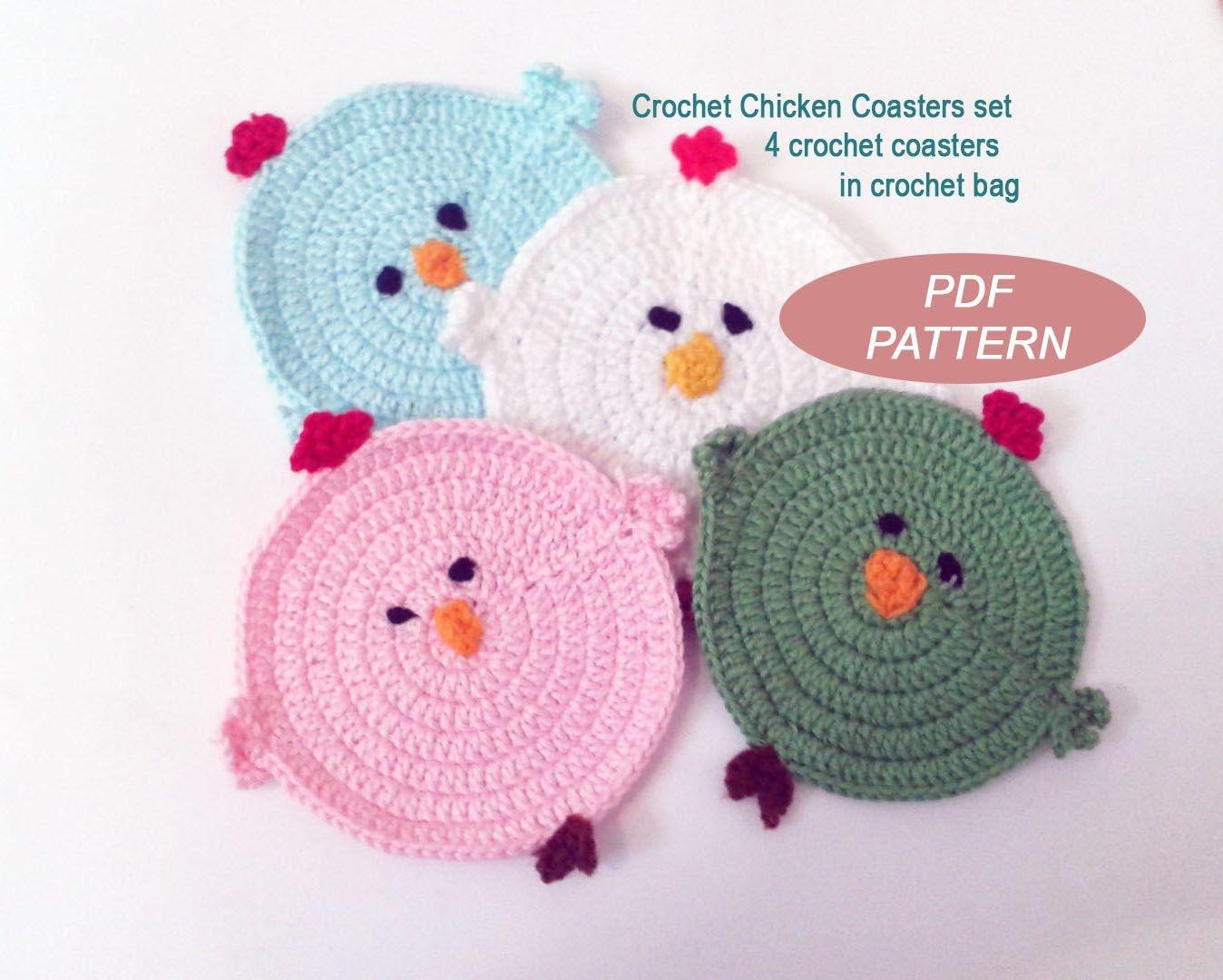 Crochet Chicken Coasters Pdf Pattern Diy Crochet Coaster Etsy