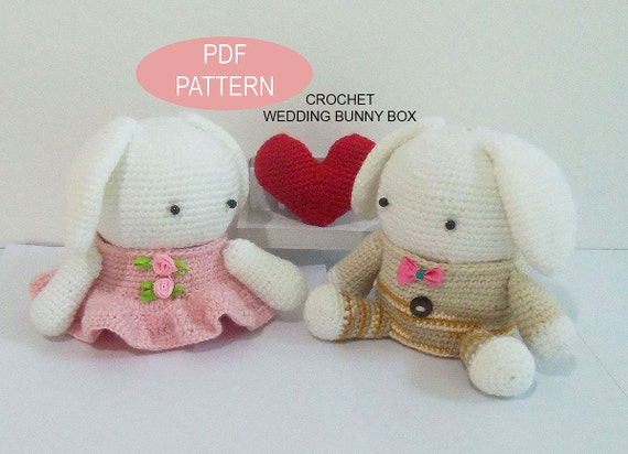 Crochet Wedding Bunny Box Pdf Pattern Patternstutorials Etsy