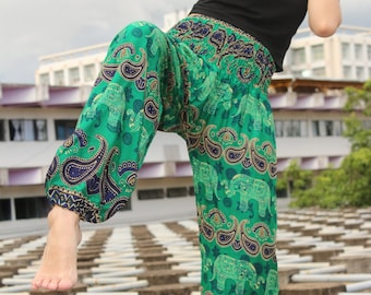 Thai Elephant clothes Thai Boho clothes Thai Hippie clothes Thai Harem clothes Thai Bohemian clothes Green clothes