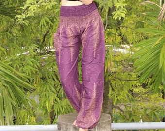 Bohemian Pants Music festival Pants Harem Pants Hippie Pants Boho Pants Yoga Pants Gypsy Pants Peacock violet purple