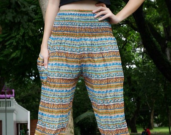 Stripe pants women Striped clothes Stripper outfits Color full pants Hippie chic Palazzo boho pants Thai harem pants