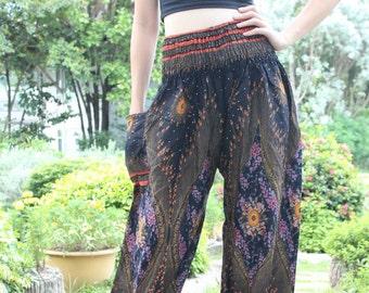 Bohemian Pants Harem Hippie Boho Ropa Yoga Pants Peacock Design Woman