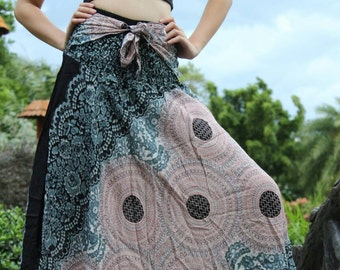 Harem Skirts Hippie Boho Clothing Peacock Rose