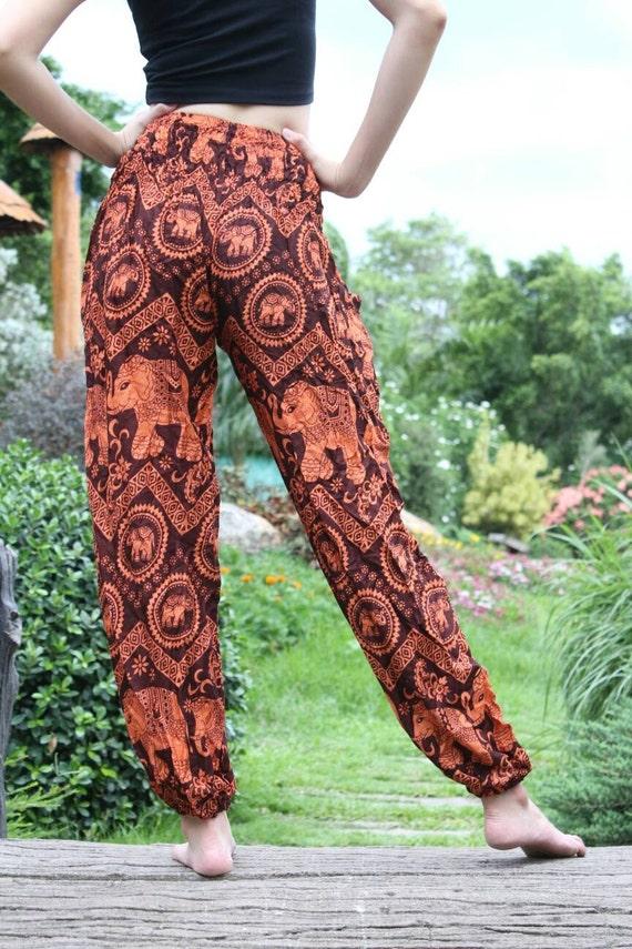 Brown elephant pants Festival pants Beach pants women Harem pants men Yoga pants men Bohemian women Boho men