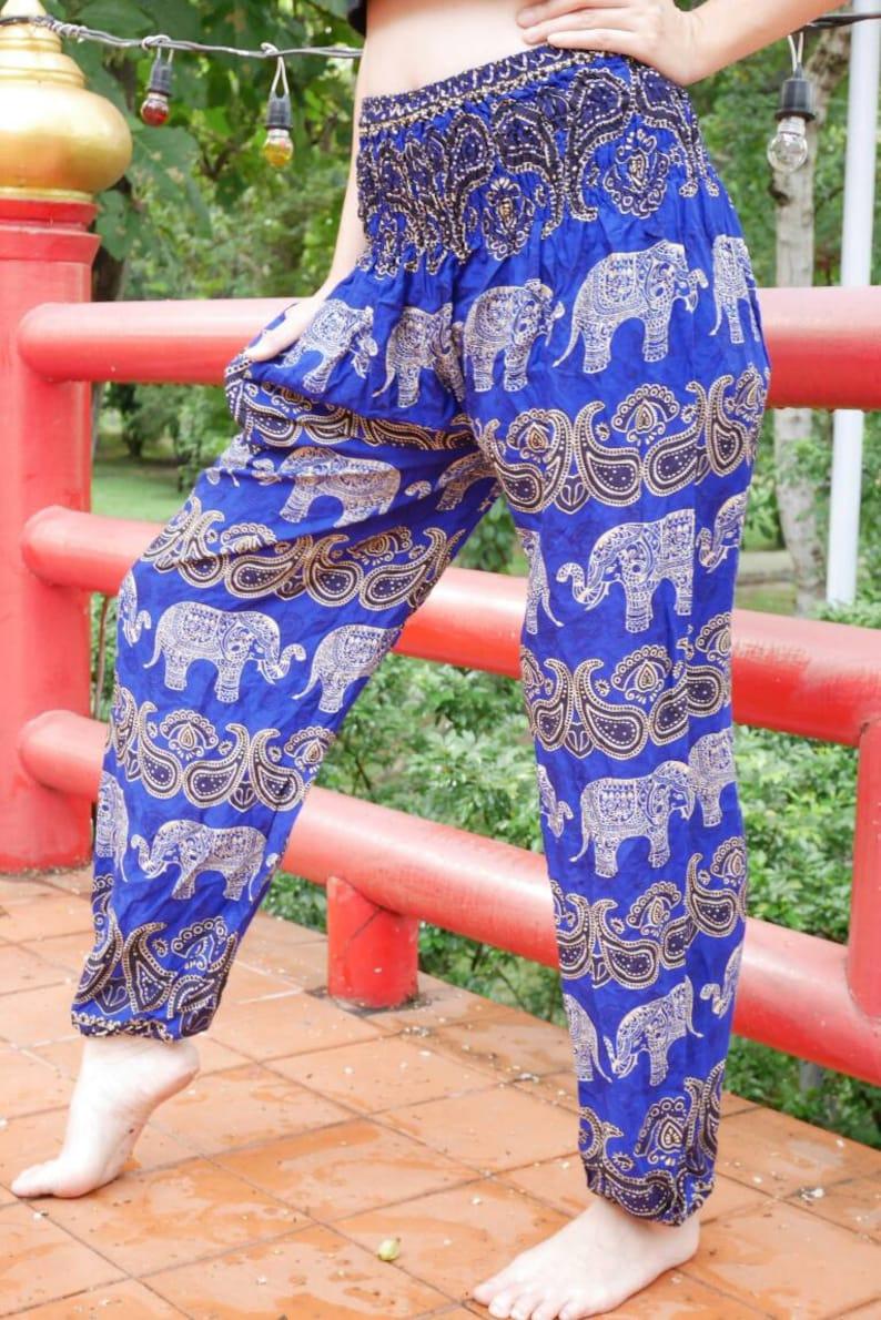 5bfe3c6d1bab4 Blue Elephant Harem Pants Hippie Clothing Boho Yoga clothes | Etsy