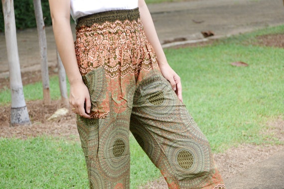 Vêtements tribales Hippie pantalon Pantalon de fleur Rose vêtements que Haram pantalon vert olive Boho vêtements Bohème pantalon que maxi pantalon