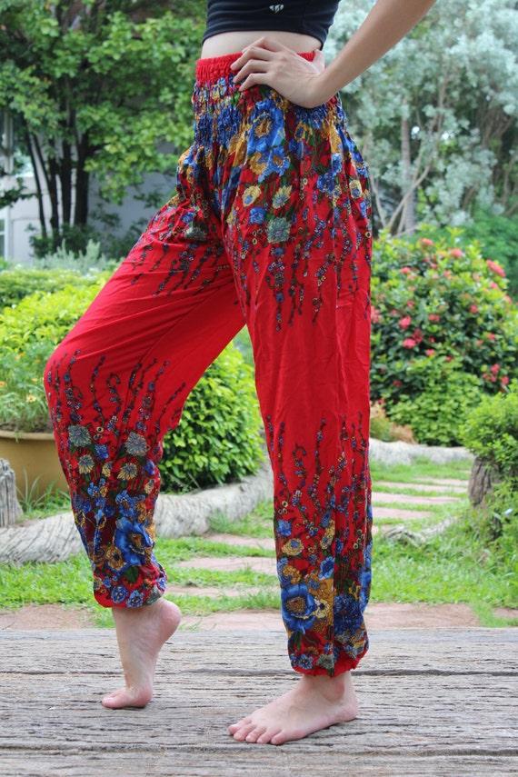 Women Harem Pants Ropa Hippie Pants Boho Yoga Flower Red