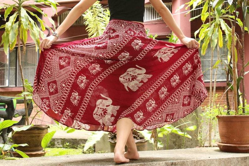 Red Skirt Thai Elephant Skirt Thai Harem Skirt Thai Hippie image 1
