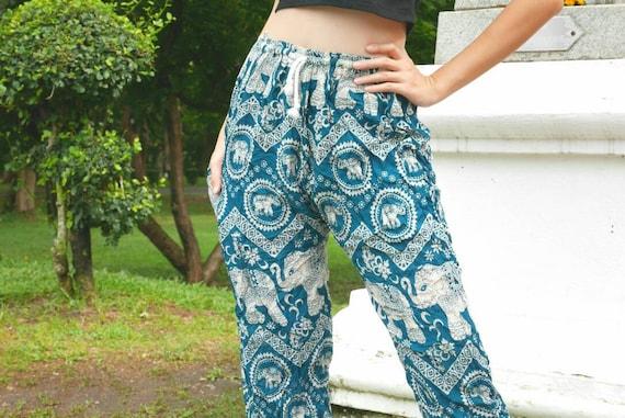 Pantalones Verdes Mujeres Elefante Pantalones Harem Pantalones Etsy