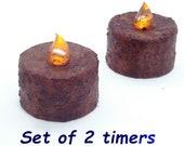 Set of 2 Timer Tealights Grubby Burnt Mustard Cinnamon Tea lights Battery Operated LED