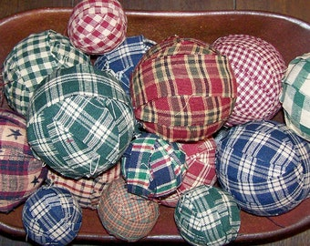 Primitive Small Rag Balls Fall Color Gingham Homespun 1.5 inch Bowl Filler