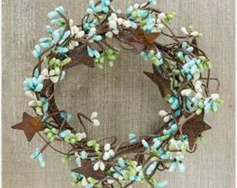 """Teal and Coral Pip Berries  2 1//4/"""" Candle Wreath"""