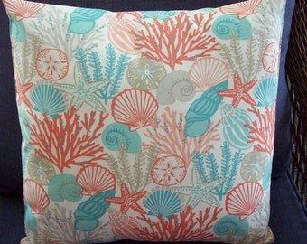"Pillow Cover Sea Shells Starfish coral peach aqua blue 18"" tropical outdoor coastal beachy"