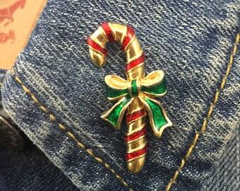 vintage metal candy cane pin (stock# 359) christmas, brooch, lapel pin, hat pin, christmas pin, holiday pin, winter