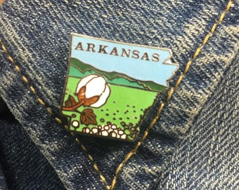 Vintage Arkansas enamel lapel pin (stock# T11) travel pin, state, hat pin, enamel pin, pinback, cotton, AR