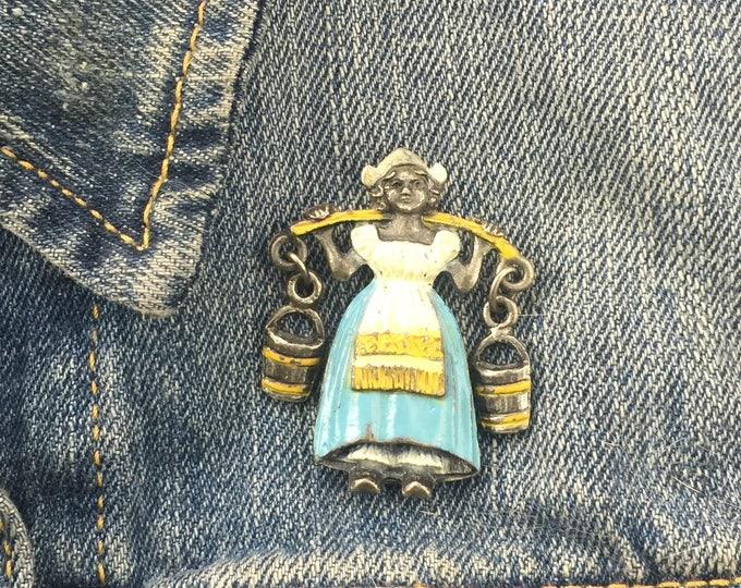 Vintage Dutch Milkmaid Pin (stock# 913) brooch, lapel pin, pewter pin, dutch, netherlands, germany, travel pin,