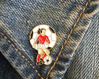 Vintage Soccer Player Pin (stock# 943) lapel pin, enamel pin, soccer pin, vintage pin, football, world cup, umbro,