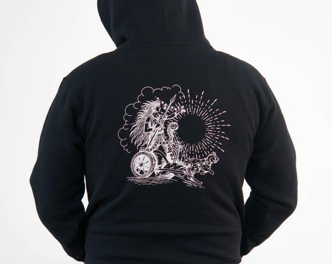 Freyja Hooded Sweatshirt  |||  freya, freja, norse mythology, viking, goddess, cats, cat chariot, Norwegian