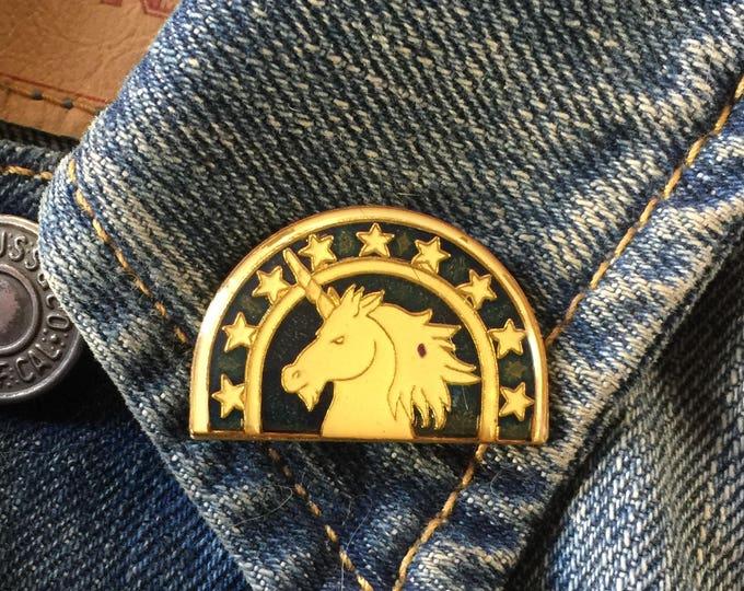 Vintage Unicorn Pin (stock #973) hat pin, lapel pin, enamel pin, magic, fantasy, mythology, flair, 80s,