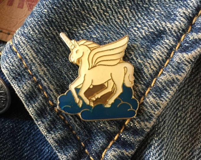 Vintage White Unicorn Pegasus Lapel Pin (stock# 970)
