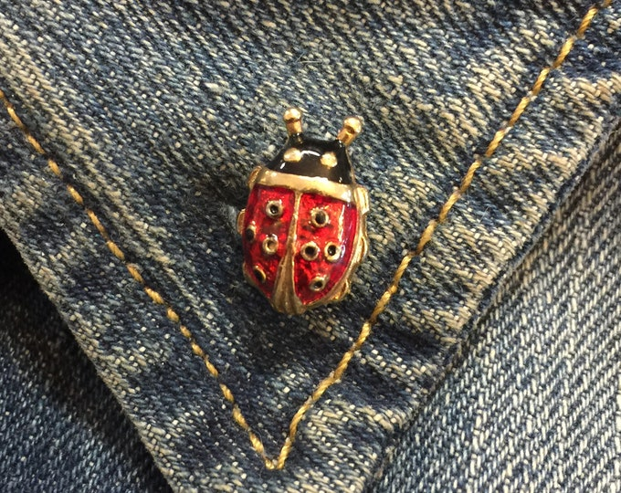 Vintage Lady Bug Lapel Pin (stock# 1029) hat pin, lapel pin, enamel pin, pinback, flair, vintage pin, insect, lucky, brooch
