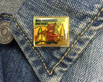 San Fransisco District Lapel Pin (stock# 889) enamel pin, hat pin, tie pin, bay area, california, silicone valley
