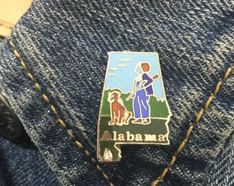 Vintage Alabama state enamel lapel pin (stock# t15) hat pin, hat pins, state pin, brooch, enamel pin, south, AL, Birmingham,