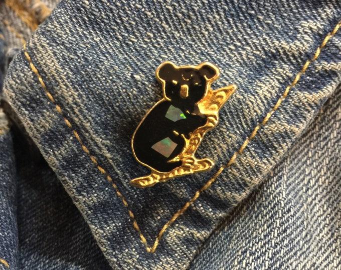 Vintage Koala Lapel Pin (stock# 1028) hat pin, lapel pin, enamel pin, pinback, flair, vintage pin, australia, marsupial, wildlife, opal