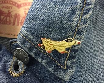 Vintage Thunderbird Jet Pin | airplane, pin, hat pin, lapel pin, enamel pin, pinback, kids gift, Air Force, fighter jet,