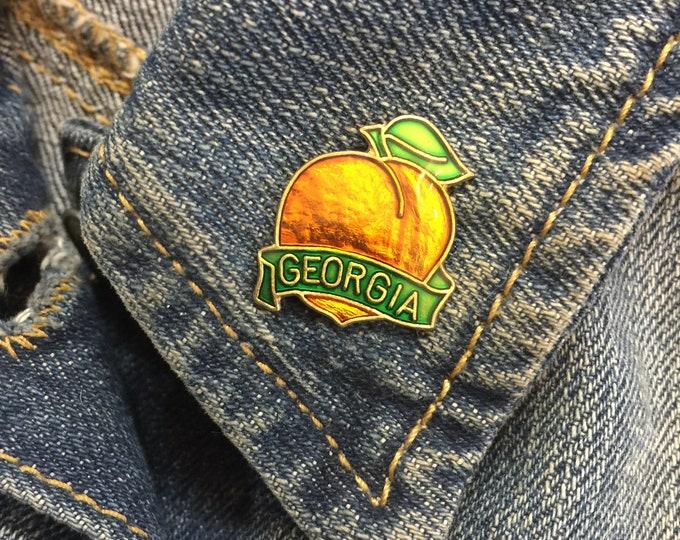 Vintage Georgia Peach Lapel Pin (stock# 1024) hat pin, lapel pin, enamel pin, pinback, flair, vintage pin, south, vintage pin, GA, travel