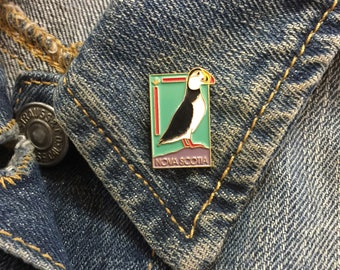 Vintage Nova Scotia Lapel Pin (stock# 1023) hat pin, lapel pin, enamel pin, pinback, flair, vintage pin, canada, canadian pin, puffin
