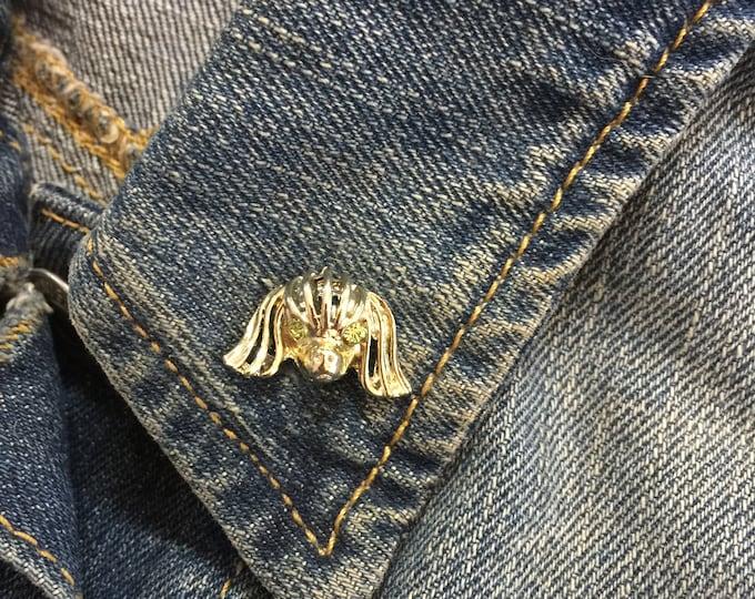 Vintage Dog Pin (stock# 1031) hat pin, lapel pin, enamel pin, pinback, flair, vintage pin, dog pin, dog brooch