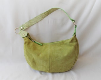 6314e55c85c2 Vintage salat green suede leather shoulder hobo bag large purse with snake  skin strap handbag tote classic accessories women ladies bags
