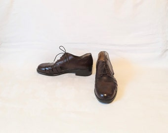 Thom Brown Women/'s Lace Up Perforated Leather Casual Oxfords Mustard Shoes Sz 38